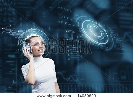 Girl in virtual designed room