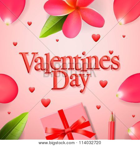 Valentines day concept, gift boxe with red ribbon and rose flower petals, vector illustration.