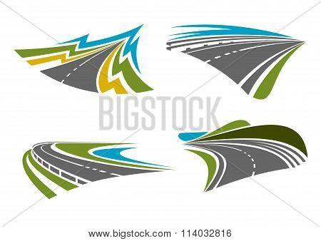 Mountain, rural, coastal roads and highways icons