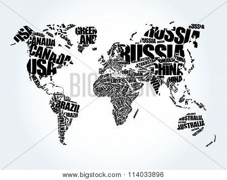 World Map in Typography