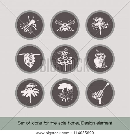 Set of icons for the sale honey 2