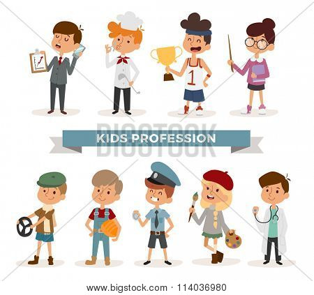 Set of cute cartoon professions kids. Painter, sportsman, cook chef, builder. Policeman, doctor, artist and driver, businessman. Funny cartoon boys kids. Professions kids children vector. Profession