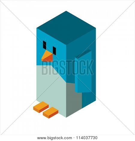 Penguin 3d icon vector illustration. Cartoon funny 3d penguins icon isolated. Penguin vector, Santa Christmas helper, christmas penguin. Cartoon penguin vector icon isometric vew illustration. Penguin