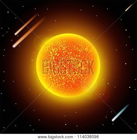 Sun star planet 3d vector illustration. Globe Sun star texture map. Globe vector Sun view from space. Sun star illustration. Geography vector Sun. Sun star silhouette, world map, 3d Sun