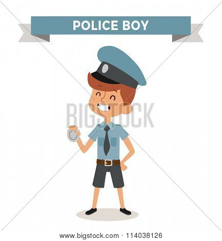 Police boy with sign isolated on white. Cute cartoon vector profession police boy. Police funny cartoon kid. Profession police cap children vector. Profession police boy