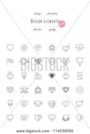 Big vintage set - Valentines Day, design elements, thin line (variable line width)