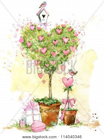 Valentines day card. Valentines love Tree.