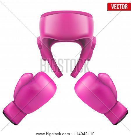 Boxing helmet and gloves. Self-defense.