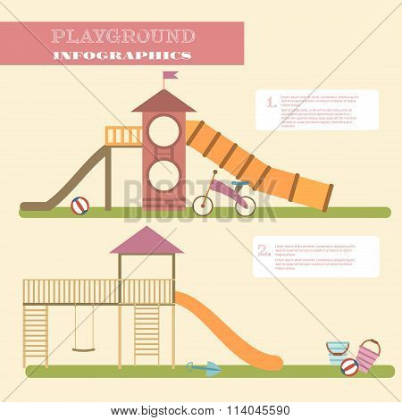 Playground Infographic Elements Vector Flat Illustration.kids Playing Equipment Infographics Set