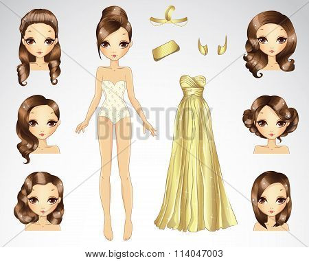 Brown Hair Set For Gold Paper Doll