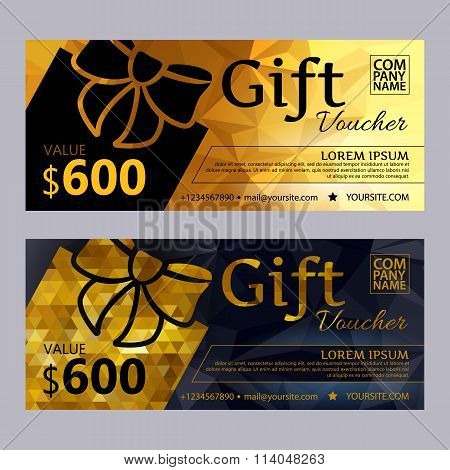Gift voucher template set with mosaic background.