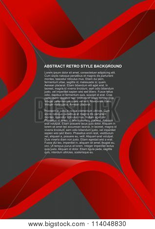 Abstract retro style background with red 3D stripes for poster, flyer or brochure design