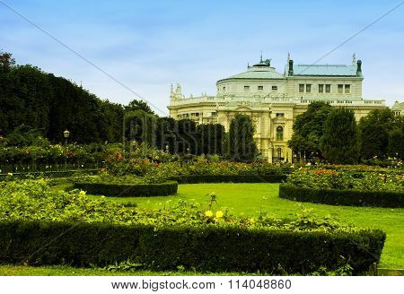 The Volkspark In Vienna With Burgtheater In The Back