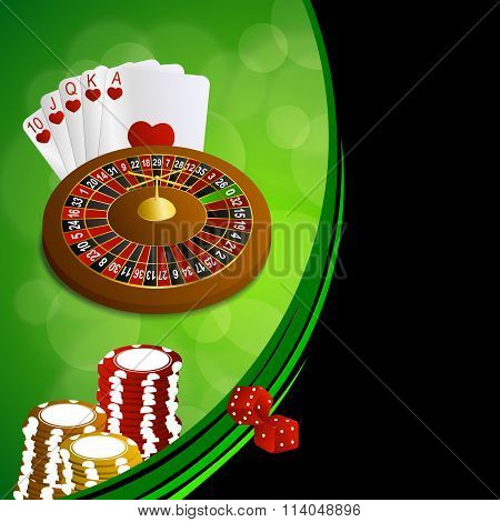 Background abstract green black casino roulette cards chips craps frame illustration vector