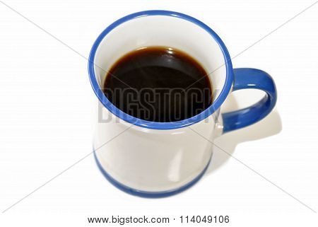 Blue And White Mug With Black Coffee