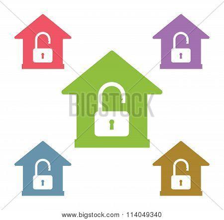 Lock house vector icon shape