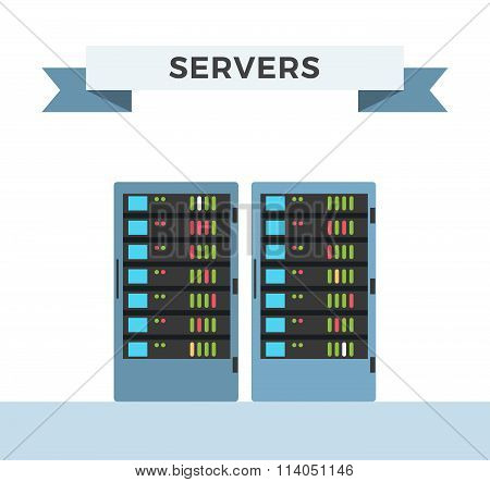 Vector high tech internet data center server
