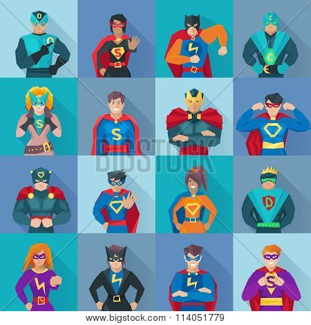 Superhero Square Icons Set