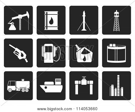Black Oil and petrol industry icons