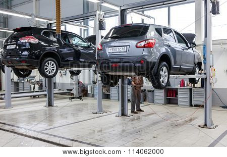 Inside In The Auto Repair Service Station Of The Official Dealer Nissan