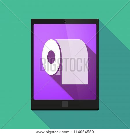 Long Shadow Tablet Pc Icon With A Toilet Paper Roll
