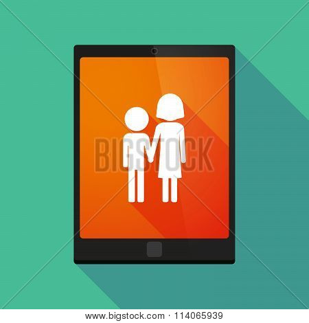 Illustration of a long shadow tablet pc icon with a childhood pictogram poster