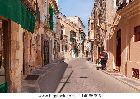 Rabat, Malta - February 24, 2010. Empty Streets Of Rabat In The Early Morning. Ancient Narrow Street