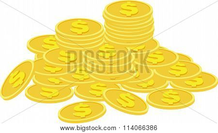 Stacks of golden coins isolated on a white background.