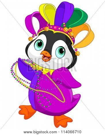 Illustration of Penguin wearing Mardi Gras costume