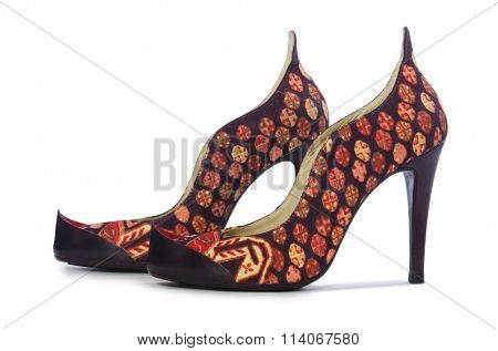 Woman shoes isolated on the white