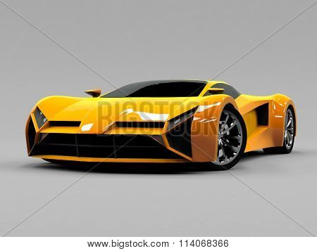 Orange sports car premium. Conceptual design. A prototype of fast transport of the future. Advanced