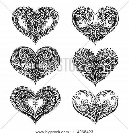 Set Of Beautiful Hand Drawn Vector Hearts In Zentangle Style