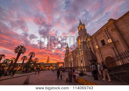 Cathedral Of Arequipa, Peru, With Stunning Sky At Dusk