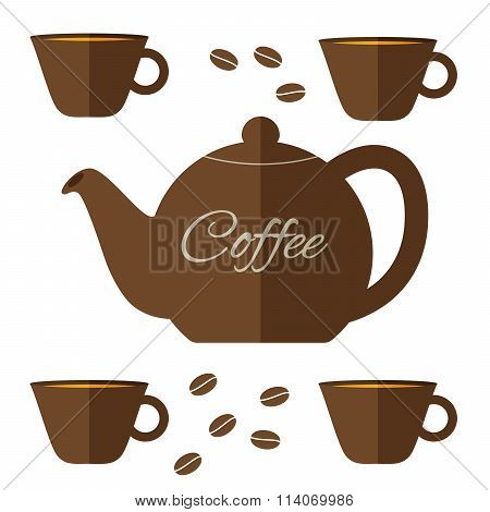 Fully Vector Flat Coffeepot Illustration With Set Of Cups In Brown Color