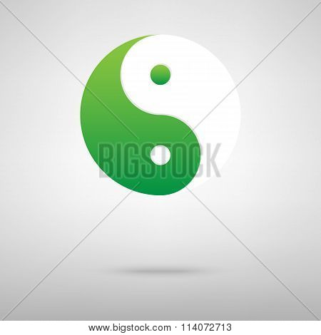 Ying yang symbol of harmony and balance. Green icon with shadow on the grey backgroud poster