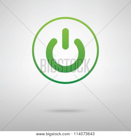 On Off switch. Green iconrey backgroud