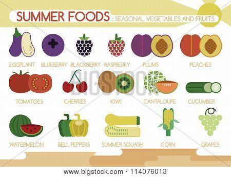 Summer foods seasonal vegetables and fruits