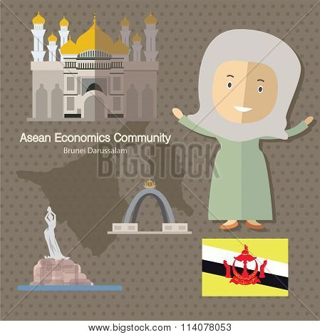 Asean Economics Community AEC Brunei eps 10 format poster