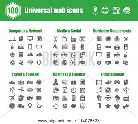 100 universal vector icons - Computer Networks,  Media and Social, PC Hardware Components, Travel and Tourism, Business and Finance, Entertainment