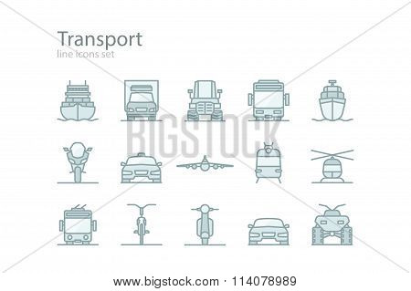 Transport. Line icons set. Monochrome style. Stock vector.