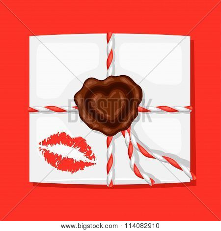 Greeting card with envelope and sealing wax. Concept can be used for Valentines Day, wedding or love