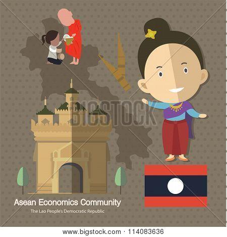Asean Economics Community AEC Laos eps 10 format poster