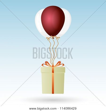 One Big Gift Package Soaring With Helium Balloons Eps10
