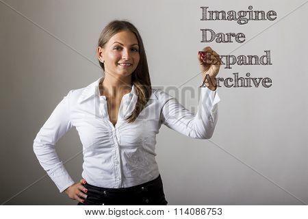 Imagine Dare Expand Archive Idea - Beautiful Girl Writing On Transparent Surface
