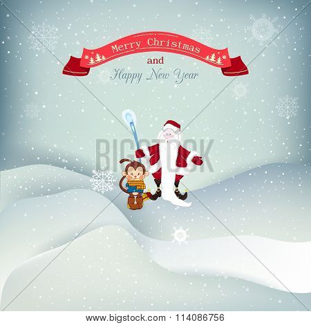 Vector illustration Christmas, snowfall with drifts