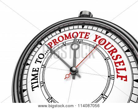 Time To Promote Yourself Motivation On Concept Clock