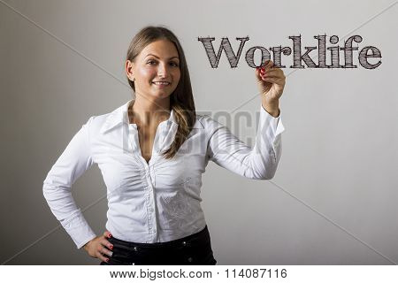 Worklife - Beautiful Girl Writing On Transparent Surface