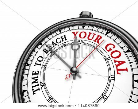 Time To Reach Your Goal Red Motivation On Concept Clock