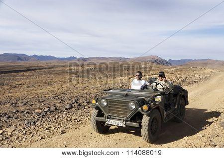 ATLAS MOUNTAINS, MOROCCO, OCTOBER 21 2015: Classic trucks traversing Atlas Mountains, Morocco, Africa