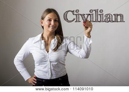 Civilian - Beautiful Girl Writing On Transparent Surface